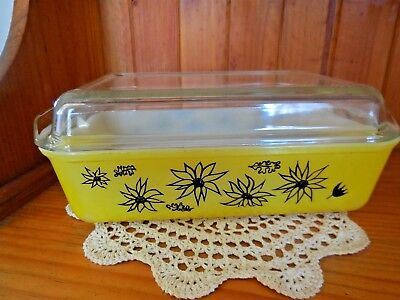 AGEE PYREX Yellow & Black FLANNEL FLOWERS  RETRO VINTAGE