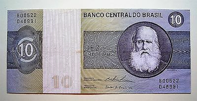 Brazil 1970,s 10 Cruzeiros Bank Note...Good VF note