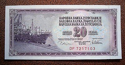 Yugoslavia 1978 20 Dinara Bank Note...Crisp aUNC Condition