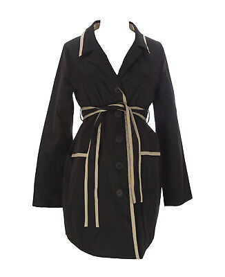 9FASHION Maternity Women's Goma Black Button_Up Belted Coat Sz S $159 NEW