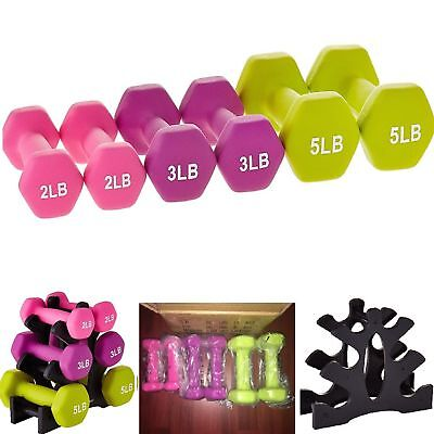 DUMBBELL SET & BONUS Storage Rack Hand Weights Workout