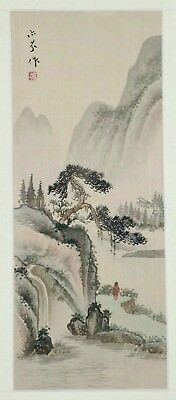 vintage Japanese watercolor scroll painting on silk landscape w/ mountains trees