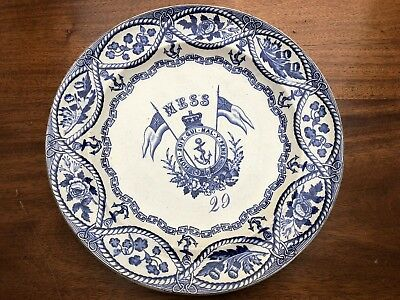 AN ANTIQUE NAVAL MESS No.29 PLATE CIRCA EARLY MID 19thC BOVEY TRACEY POTTERY