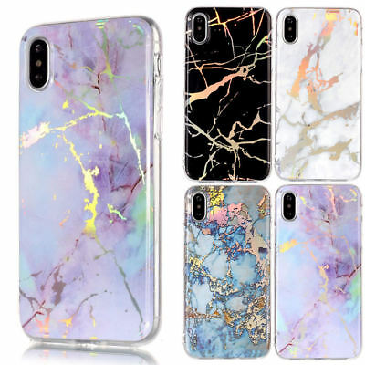 Marble Iridescent Holographic Holo Rubber Soft Phone Case For iPhone 6 7 8 X