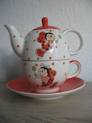 MILA-Tea for One Set-süße Teekanne Tasse-Punkte Dots Marienkäfer-Tea for one set