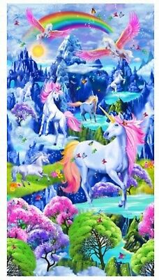 Bright Magestic Rainbow Unicorn Quilt Panel * New * Free Post *