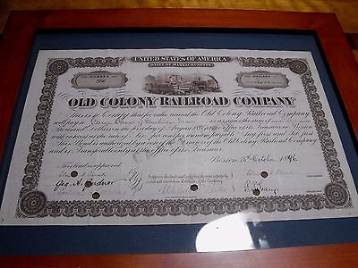 1896-1897 Old Colony Railroad $3000 Stock/Bond Cancelled Certificate FRAMED NICE