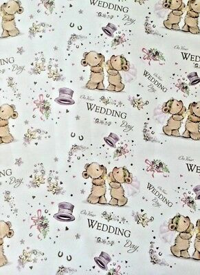 WEDDING DAY WRAPPING PAPER 2 SHEETS GIFTWRAP GIFT WRAP TAGS 50*70CM f755
