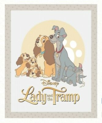 Disney Lady And The Tramp Quilt Panel * New * Free Post *