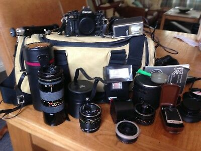 Canon A1 camera with various lenses