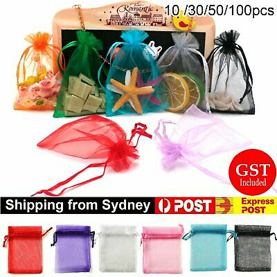 10-100Pcs 12x9cm Organza Bag Sheer Bags Jewellery Wedding Candy Packaging Gift P