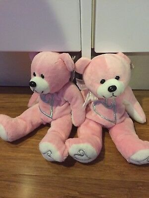 2 Pink Gifted Bears With Silver Love Hearts New With Tags