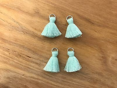 4 x Cotton Tassels 20mm 2cm - AQUA - great for earrings & accessories