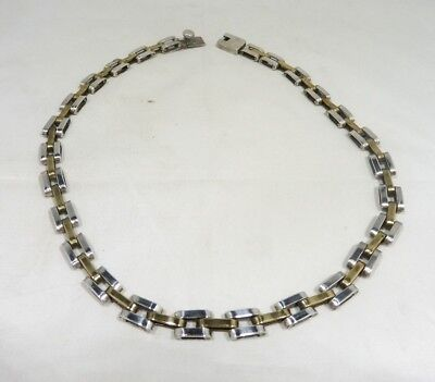Vintage Mexican Vermeil Sterling Silver 17 Inch Unusual Link Necklace 1.71 T Oz