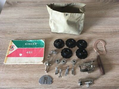 Vintage 1950's Singer 401 Sewing Machine Attachments & Instruction Booklet