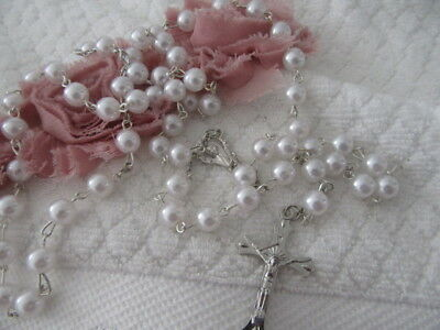 Stunning Vintage  Beautiful  White Opalescent  Rosary Beads