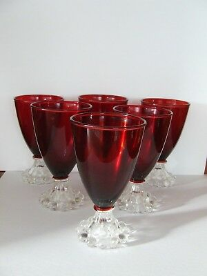 Vintage 1950's Anchor Hocking-Boopie Royal Ruby Red Wine Glasses  X 6