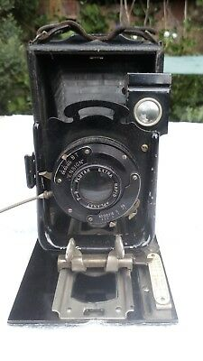 Houghton Ensign Folding  Plate Camera  And 1 Plates