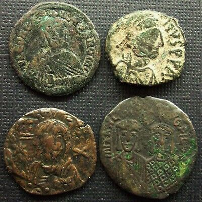 Byzantine, Lot of 4 AE coins, 6th-8th century AD; various issues.