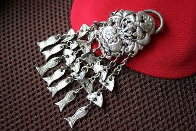 Tribal exotic chinese handmade miao silver tassel Pendant