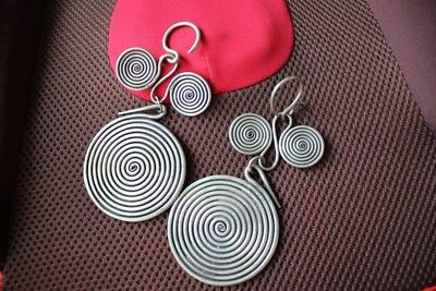 Tribal exotic chinese handmade miao silver Big Earrings EH13