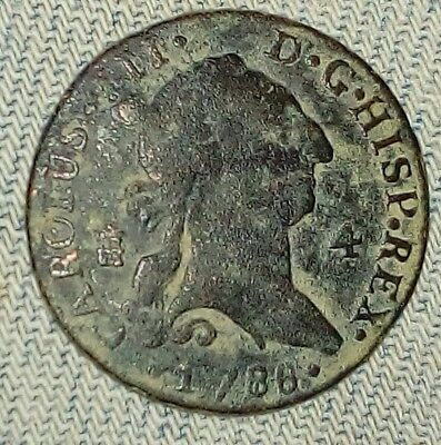Spain Charles lll 4 Maravedis 1788 Castle And Lion Bourbon Dynasty Segovia Mint