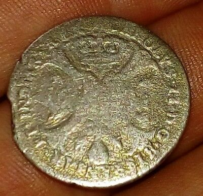 Excellent Find Spanish / Netherlands Silver 1685 King Charles ll 4 Patards Rare