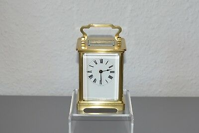 French - 8 day - carriage clock. Working order. Restored. Brass.