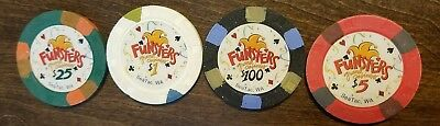 Funsters Grand Casinos ~ SeaTac Washington ~ Casino Chips ~ set of 4
