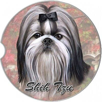 Shih Tzu Black Sandstone Absorbent Dog Breed Car Coaster