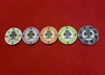 The Club~ Everett, WA~ Casino Chips ~ set of 5 ~ Chipco