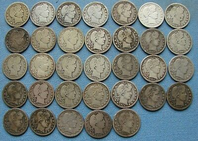 *nice Assorted Lot Of (33) Barber Quarters - Estate Fresh*