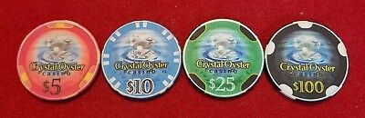 Crystal Oyster Casino ~ Casino Chips ~ set of 4 ~ Chipco