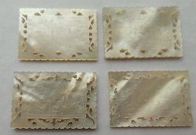 4 Antique Chinese Mother Of Pearl Etched Scrap Gaming Counters Tokens Checks
