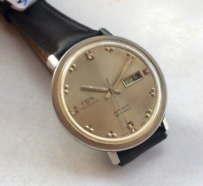 Serviced Vintage Technos Retro Day Date Automatic Swiss Made Watch Original Dial