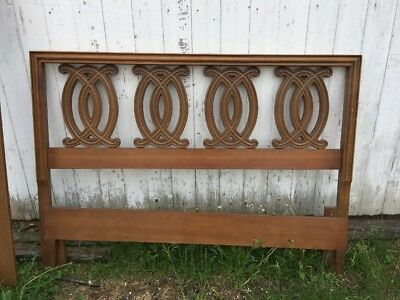 """Double Full Bed Frame and Rails Vintage Looped Design Wood and Resin 60""""l X 42""""h"""