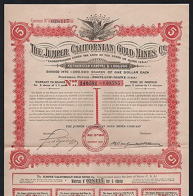 1910 Maine, USA: The Jumper Californian Gold Mines Cy.