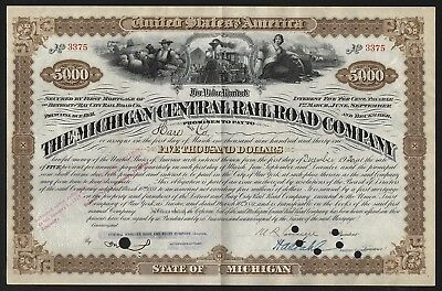 1930 USA: The Michigan Central Railroad Company - $5000 Bond