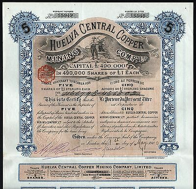 1900 Spanien: Huelva Central Copper Mining Company (London)