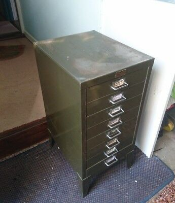 Stor Vintage Steel Filing Cabinet. 8 Drawers. Strong And Practical