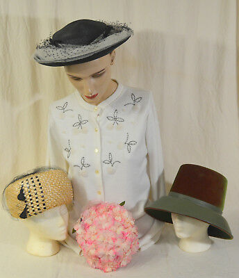 Vintage Lot of 4 Ladies Hats Valerie Modes 50's 60's   #12