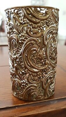 Unusual Chinese brush pot silver gold metal