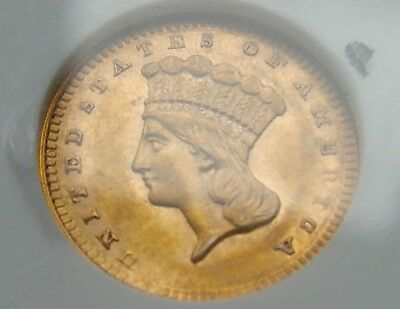 "*beautiful 1856 $1.00 Indian Princess Gold Coin ""upright 5"" Ms-60 Ngc*"