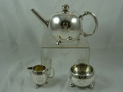 VICTORIAN solid silver BACHELORS TEA SET, 1884, 404gm