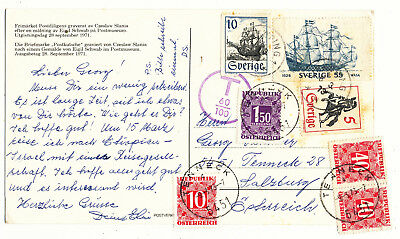 Sweden Sverige Ppc To Austria Austrian Postage Due Tax Stamps (1973)