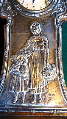 """""""BRITISH UNITED CLOCK Co."""" Mantel Clock. Works. Embossed Silver Front. c1885"""