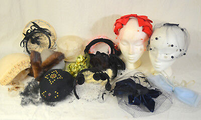 Vintage  Large Lot of Whimsy Fascinator Hats Netting & Millinery Pieces   #11