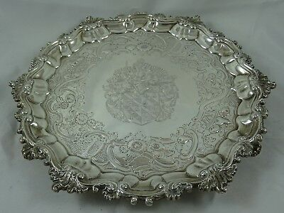 SUPERB, GEORGE II solid silver SALVER, 1753, 792gm