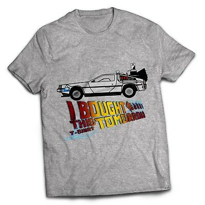 Back To The Future Delorean Time Travel Film Movie Classic Machine GREY T Shirt