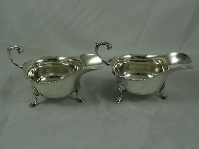 ATTRACTIVE pair, solid silver SAUCE BOATS, 1964, 317gm